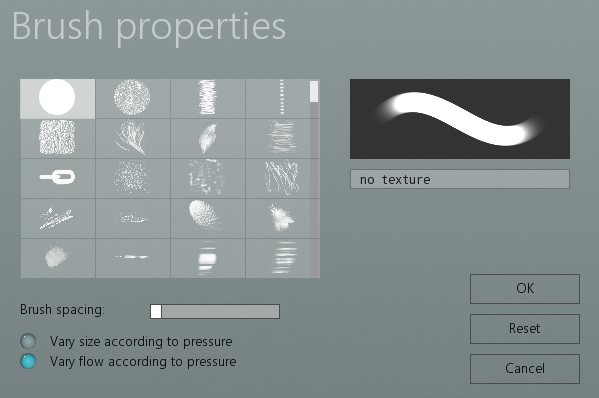 The Brush properties dialog
